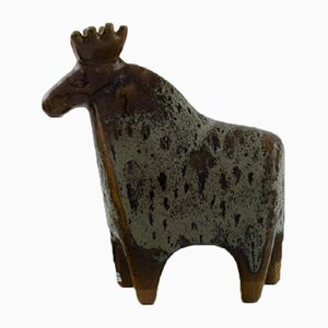Glazed Ceramic Moose Sculpture by Lisa Larson for Gustavsberg, 1970s