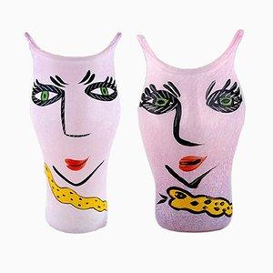 Vasen von Ulrica Hydman Vallien für Kosta Boda, 1980er, 2er Set