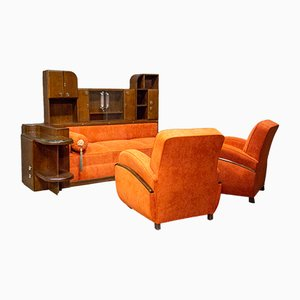 Art Deco Lounge Chairs and Sofa Set, 1930s