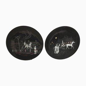 Dekorative Mid-Century Teller von Longwy, 2er Set