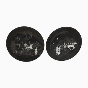 Mid-Century Decorative Plates from Longwy, Set of 2