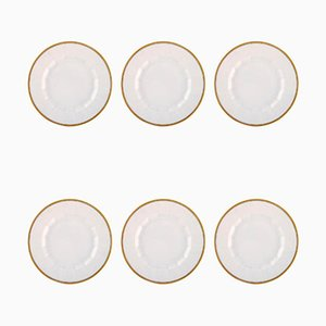 Porcelain Dinner Plated with Gold Border from Royal Copenhagen, 1990s, Set of 6