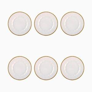 Porzellanteller mit goldenem Rand von Royal Copenhagen, 1990er, 6er Set