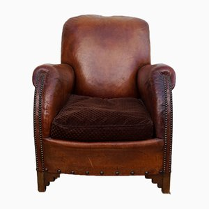 Back Leather Armchair, 1930s
