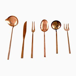 Brass Scanline Cutlery Set by Sigvard Bernadotte, 1960s