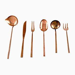 Brass Scanline Cutlery Set by Sigvard Bernadotte, 1960s