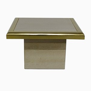 Gilded Travertine Side Table, 1970s