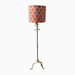 Lámpara de pie Mid-Century dorada de hierro