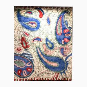 Alfombra india de cashmere y estampado hecho a mano de IKT Handmade
