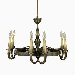 Lámpara de techo italiana vintage de latón, años 40