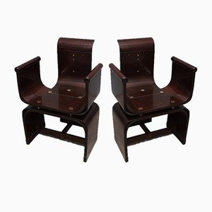 Art Nouveau Hungarian Ash and Brass Armchairs by Lajos Kozma, 1910s, Set of 2