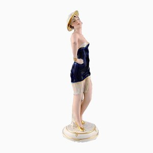 Art Deco Porcelain Posing Woman Figurine from Royal Dux, 1940s