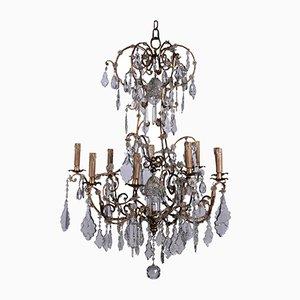 Lámpara de araña vintage de hierro y vidrio