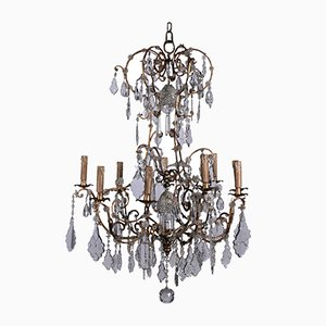 Vintage Iron and Glass Chandelier