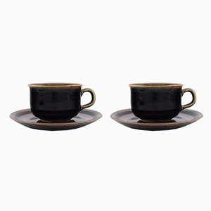 Teacups with Saucers by Carl-Harry Stålhane for Rörstrand, 1960s, Set of 4
