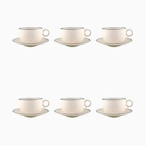 Teacups with Saucers by Stig Lindberg for Gustavsberg, 1960s, Set of 12
