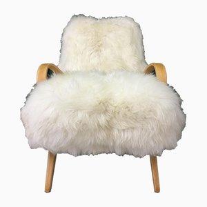 Fauteuil Vintage en Peau de Mouton Blanche