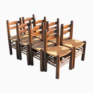 Oak Dining Chairs by Charles Dudouyt, 1940s, Set of 8