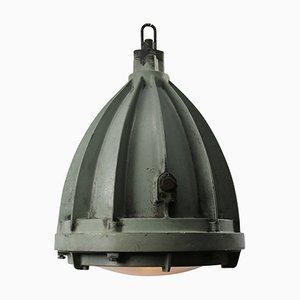 Mid-Century Industrial Aluminium & Glass Pendant