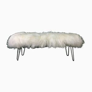 White Fluffy Sheepskin Bench with Hairpin Legs by Area Design Ltd