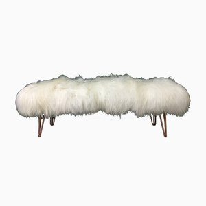 White Fluffy Sheepskin Bench with Copper Hairpin Legs by Area Design Ltd