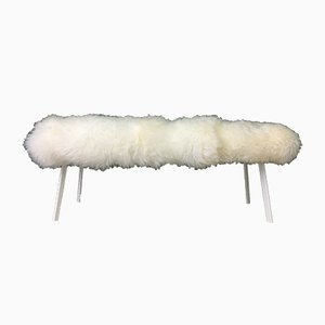 White Fluffy Sheepskin Bench by Area Design Ltd