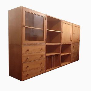 Danish Pine Cabinet System, 1960s, Set of 8