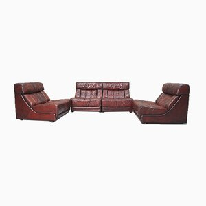 Italian Leather Modular Sofa, 1970s