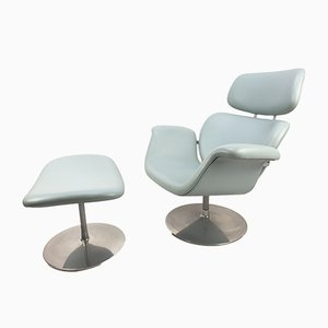 Tulip Lounge Chair and Ottoman Set by Pierre Paulin for Artifort, 1980s