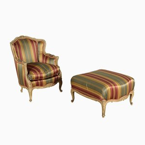 Vintage Sessel & Fußhocker Set
