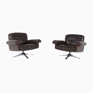 Leather Model DS 31 Swivel Chairs from de Sede, 1970s, Set of 2
