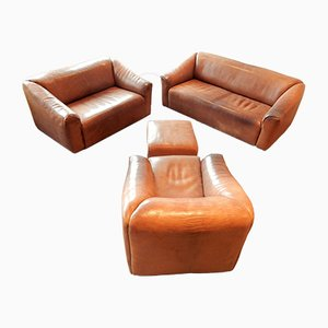 Brown Leather Model DS-47 Living Room Set from de Sede, 1970s, Set of 4