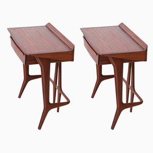 Italian Wood Nightstands, 1950s, Set of 2