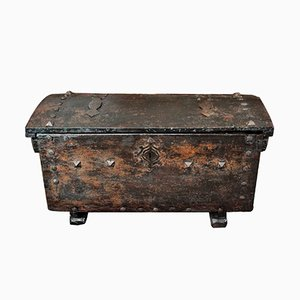 Antique Spanish Walnut Wedding Chest, 1400s
