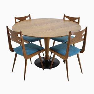 Tavolo da pranzo e sedie in quercia, anni '70