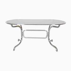Mesa de comedor de vidrio y cromo de Gastone Rinaldi para Rima, años 70