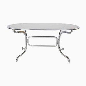 Tavolo da pranzo in vetro e metallo cromato di Gastone Rinaldi per Rima, anni '70