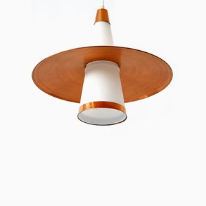 Copper & Opaline Glass Sputnik Ceiling Lamp, 1950s