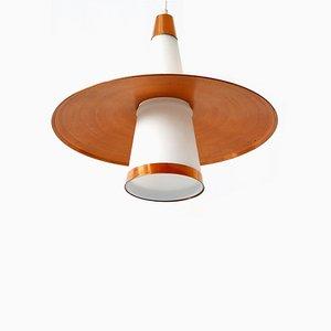 Lampada da soffitto Sputnik in rame e vetro opalino, anni '50