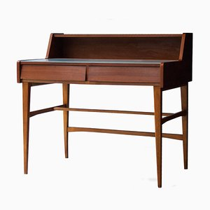 Italian Teak & Glass Desk, 1950s