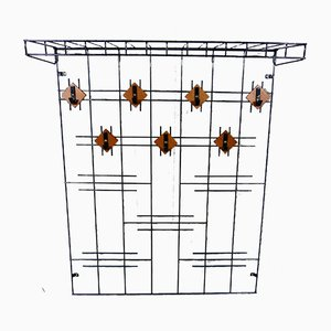 Wire Steel & Wooden Wall Coat Rack with Hat Shelf, 1960s