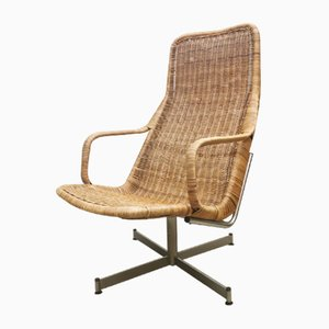 Rattan Swivel Chair by Dirk van Sliedregt for Gebroeders Jonkers Noordwolde, 1960s