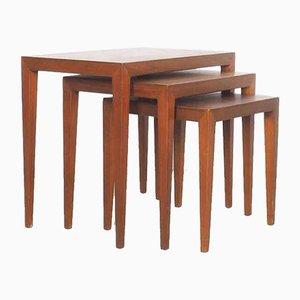 Tavolini ad incastro in teak di Severin Hansen per Haslev Møbelsnedkeri, anni '50