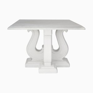 Italian White Marble & Lacquered Wood Coffee Table by Cupioli