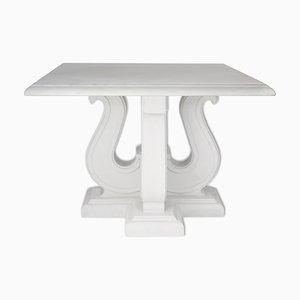 Mesa de centro italiana de mármol y madera lacada en blanco de Cupioli