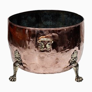 Antique Victorian Copper & Brass Log Cauldron