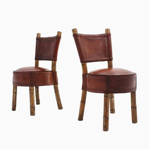 Vintage Leather and Rattan Chairs, 1970s, Set of 2