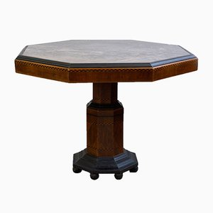 Art Deco Octagonal Marble and Wood Dining Table, 1920s
