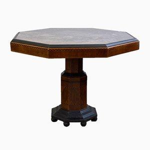 Mesa de comedor Art Déco octogonal de madera y mármol, años 20