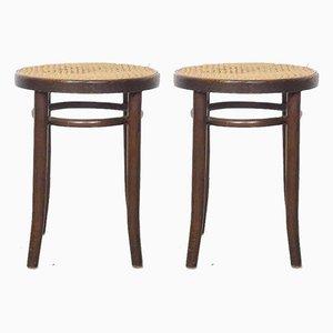 Vintage 4601 Hocker aus Holz & Rattan von Michael Thonet, 2er Set